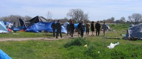 Hoog bezoek in het tentenkamp