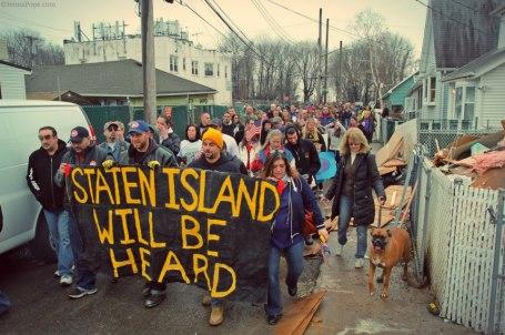 Een betoging enkele weken geleden in New Dorp Beach, Staten Island NY