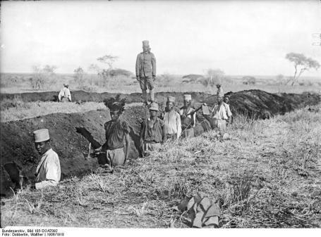 Duitse loopgraven in Afrika tijdens WO I