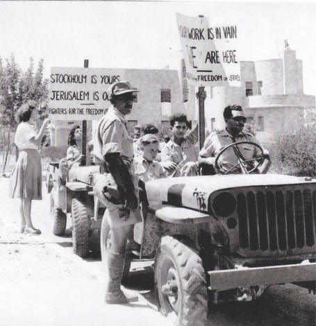 Militaairen betogen tegen Bernadotte, kort voor hij werd vermoord