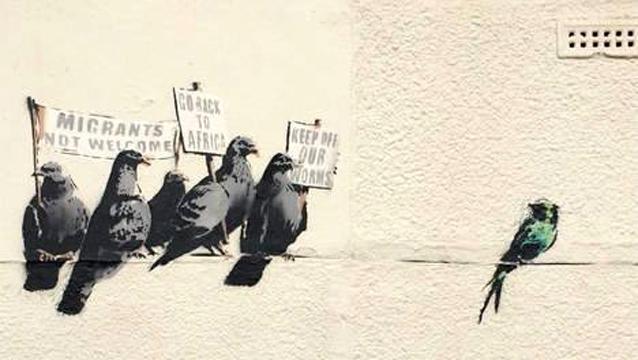mural on migrants