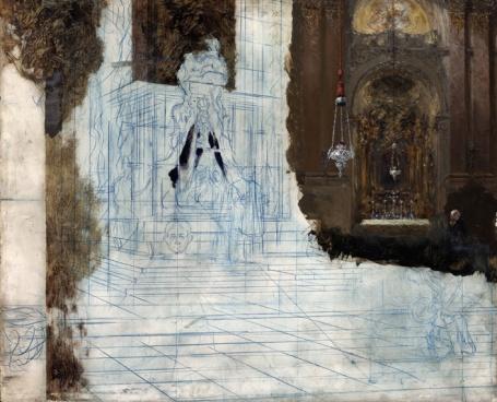 Adolph von Menzel: altaar in een barokke kerk (ca. 1880–1890)