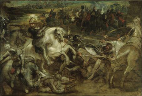 Peter Paul Rubens.  Henri IV in de slag van Ivry (ca. 1630 )