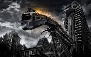 trein valt in afgrond